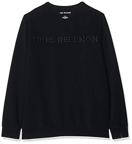 True Religion Herren Crew Sweat TR Black Sweatshirt, Schwarz 1001, Large (Herstellergröße: L)