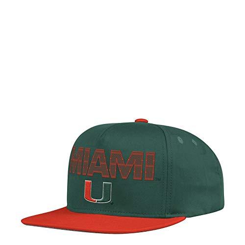 adidas Uni of Miami Hurricanes Snapback Flat Brim Snapback Hat Adidas Spandex Cap