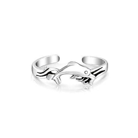 Nautical Dolphin Midi Ring 925 Silver Toe Rings Adjustable