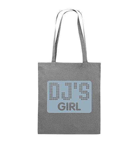 Comedy Bags - DJ'S GIRL - NEGATIV PUNKTE - Jutebeutel - lange Henkel - 38x42cm - Farbe: Schwarz / Silber Dunkelgrau / Eisblau