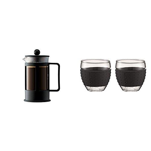 Bodum 1783-01 Kenya Cafetière à Piston 3 Tasses 0.35 L Noire + Set de 2 verres Pavina 0,1 L noir