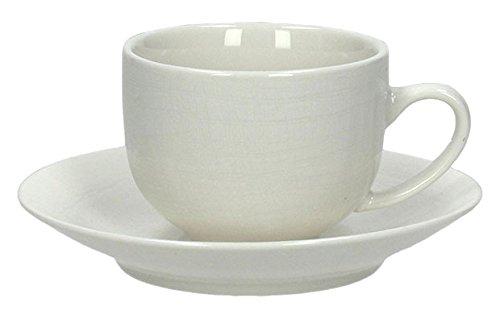 Tognana Victoria Lot de 6 tasses à café avec soucoupe, en porcelaine blanche, 14 x 14 x 6 cm
