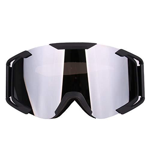 KnBoB Skibrille Entspiegelt Motorradbrillen Für Brillenträger Sonnenbrille UV Schutz Sport Brille Klar Silber