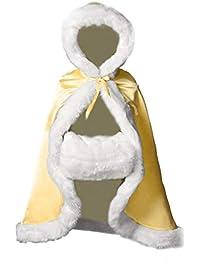 BEAUTELICATE Capa Niña con Capucha Pelo Abrigo Largo para Invierno Niño Disfraces Boda Fiesta Navidad Halloween