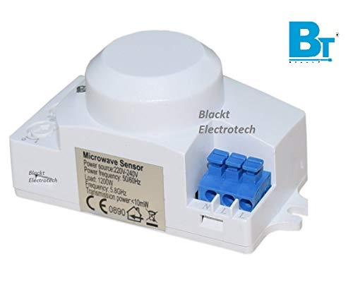 Blackt Electrotech Plastic 360 Degree Sq Type Microwave Motion Sensor with Light Sensor (White)