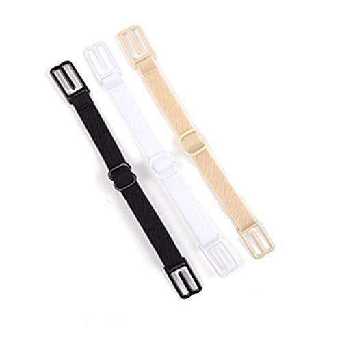 Deanyi 3Stk Non Slip BH Schultergurt verstellbare Riemen Halter elastische BH Bügel Clips |Schwarz, Weiß und Hautfarbe Kleidung - Non-slip Schultergurt