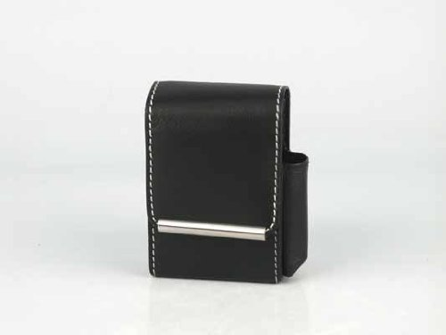 Zigaretten Packungsetui Leder schwarz 85/100mm 2 Magnetknöpfe, Feuerzeugfach seitlich, beige Steppnaht