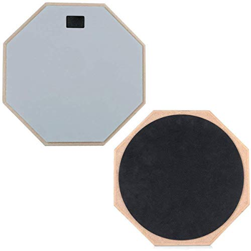 TECHSON 12 inch Drum Practice Pad, Wooden with 2-Sided Silent Rubber, Quiet Training Accessories for Beginners and Pro Drummers (Gray)