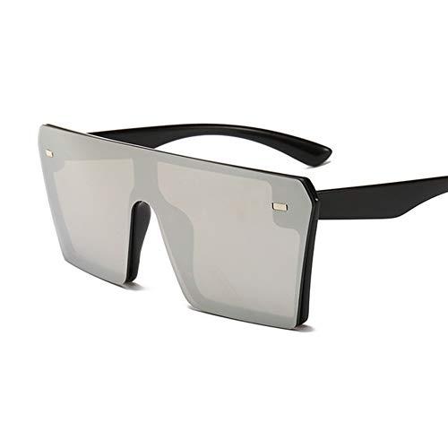 RZRCJ Übergroße Quadratische Sonnenbrille Damenmode Flat Top Rot Schwarz Klare Linse One Piece Men Gafas Shade Mirror UV400 (Lenses Color : 8)