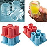 LanLan 4 Cup Ice Cube Shot Shape Rubber Shooters Glass Freeze Mold bar ice Mold Color Random