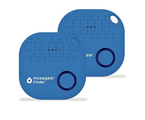 musegear® Schlüsselfinder mit Bluetooth App I 2er Pack I Version 2 I Keyfinder laut für Handy in hellblau I GPS Ortung/Kopplung I Schlüssel Finden