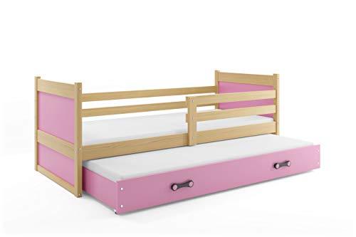 Bilira_Kids Jugendbett Funktionsbett Kinderbett Holzbett Bettkasten Ausziehbett Gästebett Doppelbett 90x200 Holz Massiv Bett