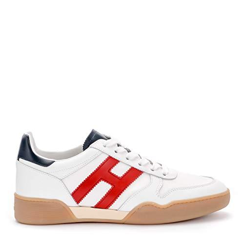 Hogan Sneaker H357 in Pelle E Tessuto Bianco E Rosso, Taglia UK: 9