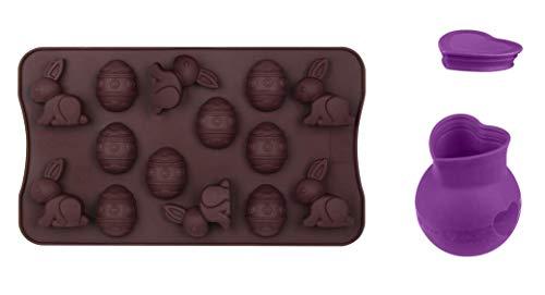 Dr. Oetker Schokoladen-Set Ostern, Silikon-Schokoladenform Fröhliche Ostern, Schokoladeneier und -Hasen zur Dekoration und Vernaschen, mit Schmelztopf Silikon zum Befüllen, Menge: 1x 2er Set