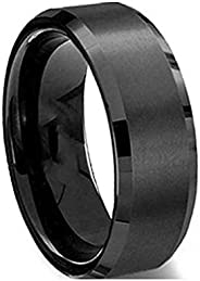 Mens Titanium Steel Black Ring US Size 9