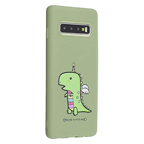 Miagon für Samsung Galaxy S10 Hülle,Ultra Dünn Kratzfest Weiche Silikon Stoßfest Flexibel Prägen TPU Rückschale Handyhülle Schutzhülle Case,Grün Krokodil