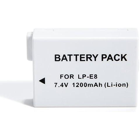 Batteria---orld Canon: LP-E8, LPE8 7,4 V al litio batteria sostitutiva
