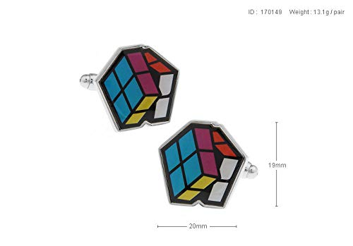 ESCYQ Manschettenknöpfe,Unisex Manschettenknöpfe Mini Rubik's Cube Multicolor Film Drucken Manschettenknöpfe Hülse Nagel Business Bräutigam Anzug Hemd Hochzeit Zubehör