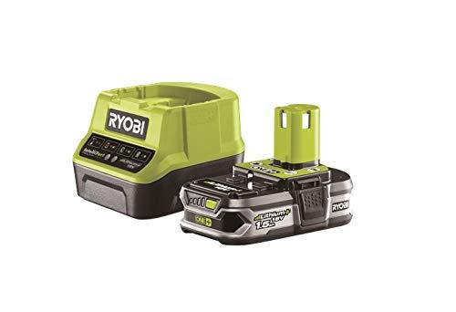 Ryobi Akku mit Schnelladegerät 18V, 1,5 Ah, für Gartengeräte, mit Überlastungsschutz+Ladezustandsanzeige, RC18120-115