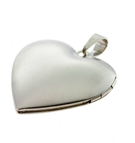Medaillon Herz Amulett aufklappbar für 2 Fotos Herz Anhänger Edelstahl me23638 Gratis Gravur