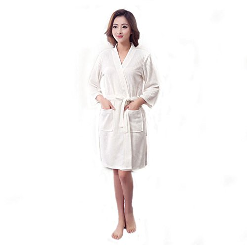 YJZ Damen Bademantel Dusche Pyjamas Waffel Weave Robe SPA Kimono Nightgowns Lange Weiß