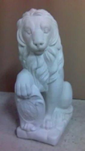 Defi Deko- und Figurenhandel Löwe sitzend Links schauend/weiß (H965), Tierfigur aus Steinguss, Höhe: 37 cm, Gewicht: 55 kg Defi Link
