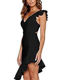 Angashion Damen Sexy Sommer Kleid V-Ausschnitt Armellos Rückenfrei  Partykleid Unregelmäßig Abendkleider ddca706985