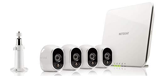 ARLO VMS3430 Sistema di sorveglianza Wi-Fi con 4 Telecamere senza Fili a Batteria, Hd, Resistente all'acqua, Visione Notturna, Interno/Esterno, App Android & Ios, Funziona con Alexa e Google Wi-Fi