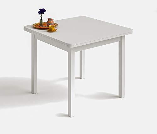HOGAR24 ES Mesa Cuadrada Multiusos Comedor Cocina Dimensiones 90 cm x 90 cm Extensible Libro a 180 cm x 90 cm. Color Blanco