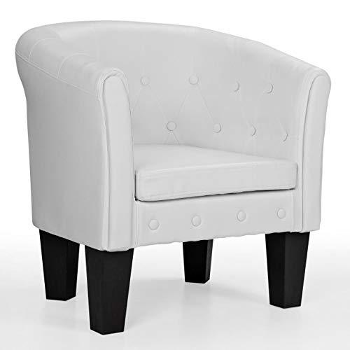 Homelux Chesterfield Sessel, aus pflegeleichtem Kunstleder und Holz, mit Rautenmuster, Farbwahl, Lounge Sessel, Clubsessel, Armsessel, Cocktailsessel, Wohnzimmer Möbel, Design-Polstermöbel, Weiss -