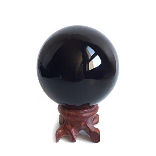 Einfach Kostüm Zu Hause Katze - Obsidian-Kristallkugel (5,6cm) für Fengshui, Meditation, Steinheilkunde, Wahrsager-Kugel, Innendekoration, 100% natürlich & echt
