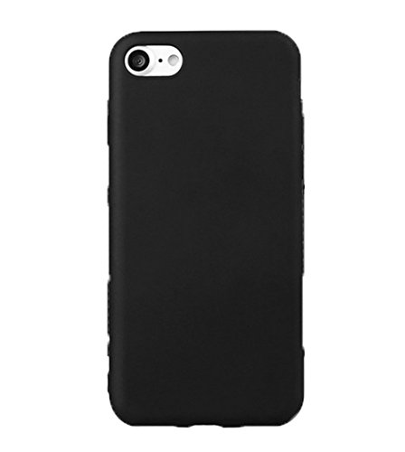 Hosaire Coque Soft TPU Silicone Ultra-thin Solid Couleur Phone Case Housse pour iPhone 7 Cover de Protection de Téléphone Case pour iPhone 7 -Noir Noir