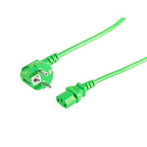 kabelbude KB09-0518302 Netzanschlusskabel, Schutzkontaktstecker 90 Grad auf Kaltgerätebuchse, 230 V, CEE7/7-C13, VDE, 1,8m Grün