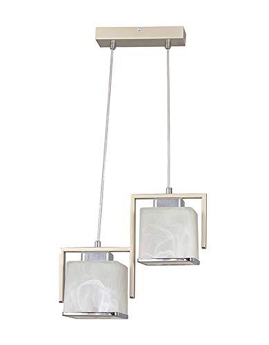 Pendelleuchte Glas Alabaster in Weiß Silber Klassisch länglich JENNA Hängelampe Esstisch Wohnzimmer - Silber Alabaster, Glas