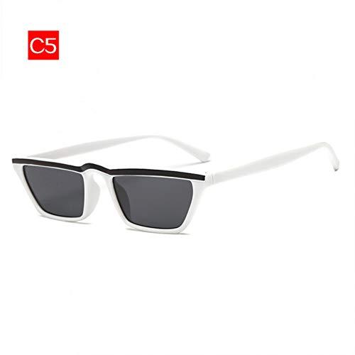 Chudanba New Small-Frame Cat Eye Sonnenbrillen für Damen Damen Sonnenbrillen Kleine Rahmen Sonnenschutz,C5 Weiß