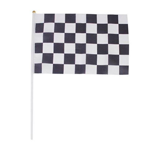ck White Racing Flag 11.8 * 7.9 Banner mit 15.7 Kunststoff Pole für F1 Formel 1 Racing (Checkered Flag Banner)
