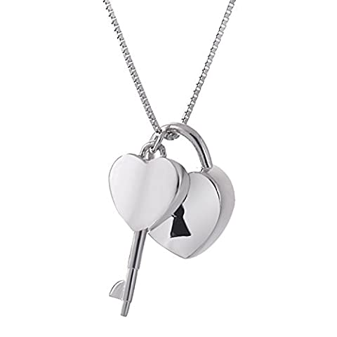 lureme® 925 Sterling Silver Heart, Lock and Key Charm Pendant Necklace (01002020)