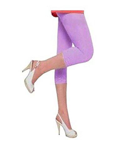 Damen hochwertiger Baumwolle weicher Stretch-Spitze unter Knie Ernte Leggings Farben & Größen Ebene 3/4(ref:2191lace) (x-groß, flieder(lilac))