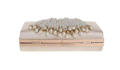 FZHLY High-End Abendtaschen Damen Bankett Pearl Clutch Bag Abendtasche Apricot