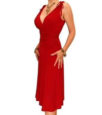 Blue Banana Red Grecian Slinky A Line Shift Dress Size 8
