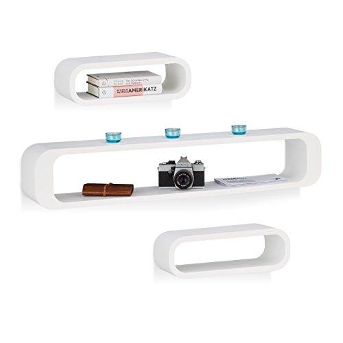 Relaxdays 10021802_49 set 3 mensole da parete decorative per soggiorno, capacità di carico 10 kg, bianco