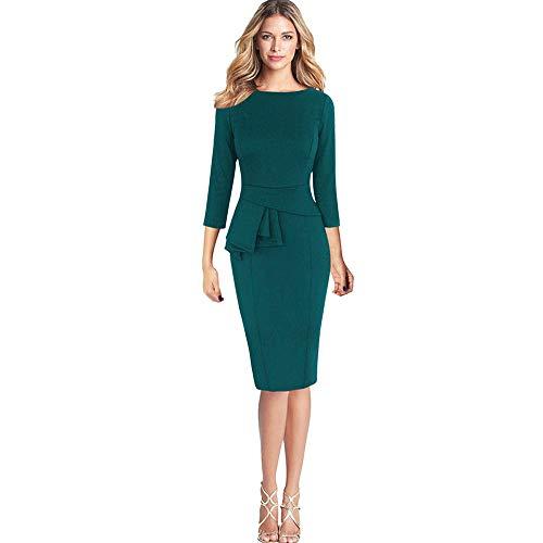 KIMODO Damen Kleid 3/4 Ärmel Herbst Winter Elegante Rüschen Etuikleid Partykleid Abendkleid Kleider (Grün, L)
