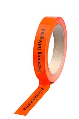 "PVC-Klebeband rot/orange bedr.\""Rechnung inliegend\"" 19 mm x 66 m- 3er Pack"