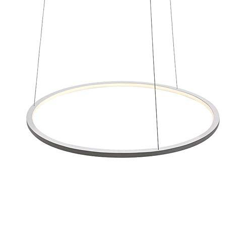 Modernen Design 1-Ring LED Esstisch Pendellampe Fernbedienung dimmbar Pendelleuchte Designleuchte Esszimmer Hängelampe höhenverstellbare Wohnzimmer Aluminium Metallrahmen Dekoration Ø40CM (Weiß)