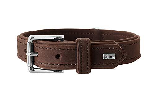 HUNTER ROLLING HILLS Halsband für Hunde, Leder, Nubukleder, robust, samtartig, 40, dunkelbraun - Rolling Band Fällen