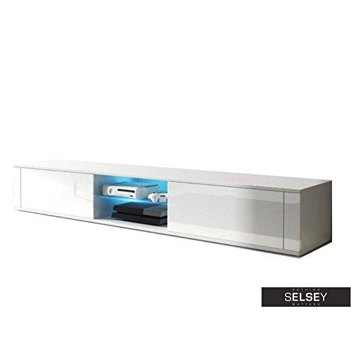 Élégant meuble TV avec support/TV blanc mat / blanc brillant