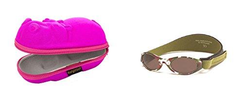Coffret cadeau de bébé Hippopotame rose et BabyBanz Lunettes de soleil camo vert