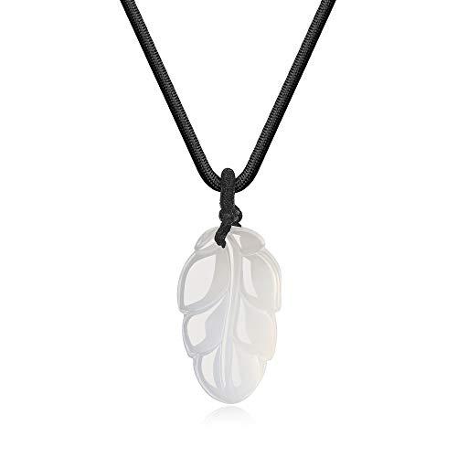 coai Unisex Geschenkideen Gebetskette Edelsteinkette Laub Blatt Anhänger Halskette aus Achat Weiß (Achat-anhänger-halskette)