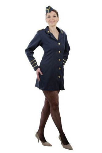FOXXEO Déguisement hôtesse de l'air pour Femme - Costume de Stewardess pour Dames - Taille 34-36