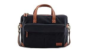 "VOLOQ Siach Canvas & Vegan Leather 17"" Laptop Messenger Bag Unisex Navy Blue"